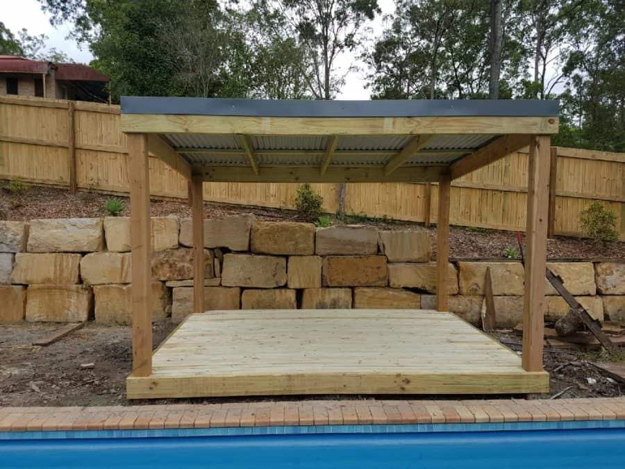 Natural Finish Pergola With Deck